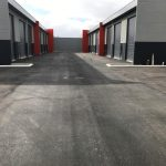 Completed asphalt and kerbing for six unit commercial development