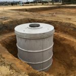 Concrete tank waiting for back fill in new development
